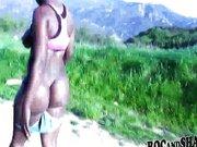 Ebony babe fucked outdoor