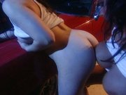 Lesbian big tits strapon attack by the car