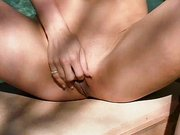 Masturbating snatch by the pool